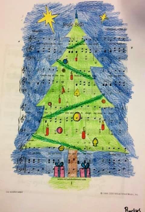 Google sheet music christmas +tekening er overheen maken