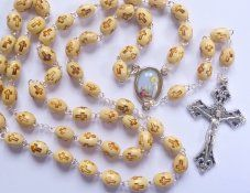 Wood Rosary with Engraved Crosses.