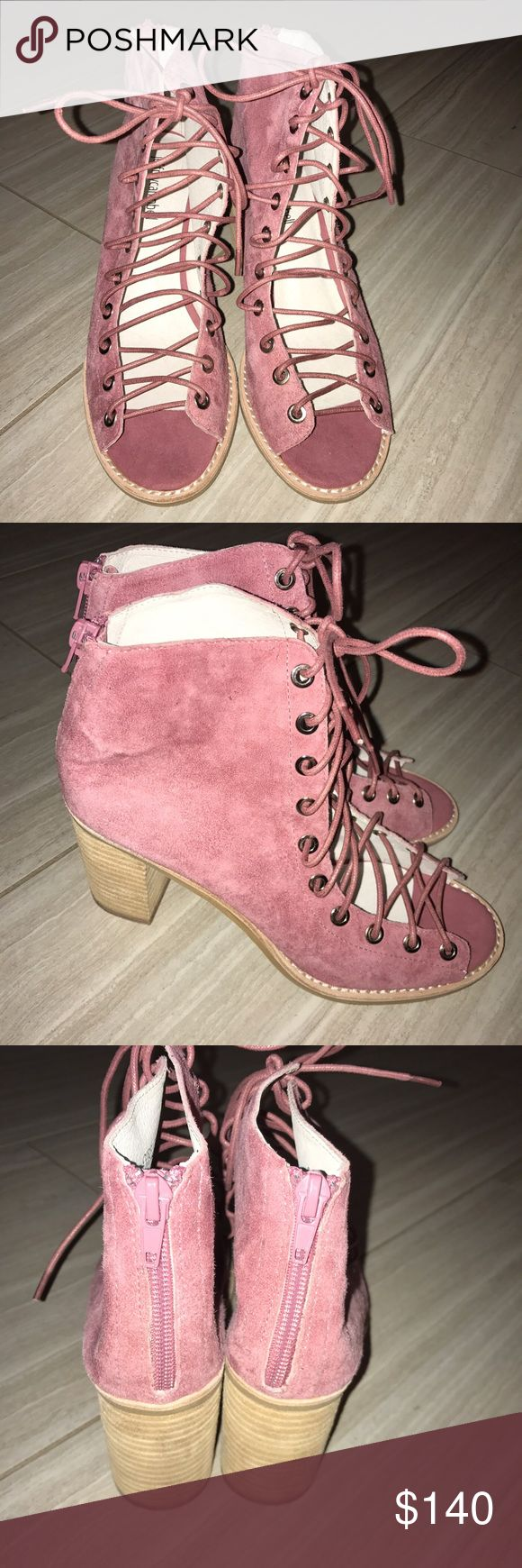 Jeffrey Campbell Cors Suede Peep Toe Bootie sz 7.5 Brand new size 7.5 blush / pink color Jeffrey Campbell Shoes Lace Up Boots