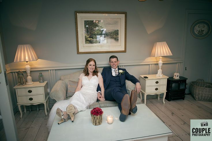 The bride & groom take a well earned rest. Weddings at Conyngham Arms Hotel, Slane, by Couple Photography.