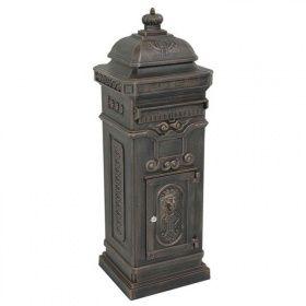 LesliLiving Briefkasten Standbriefkasten antik Nostalgie Englischer Stil Alu - Guss bronze   Gahalia