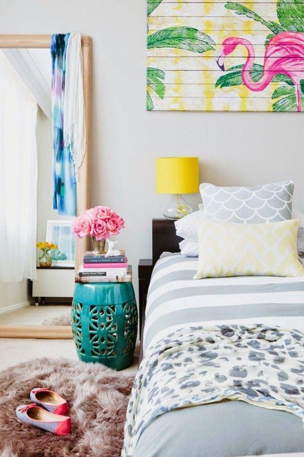 habitación con cuadro tropical #hawaiano #dormitorio #hogarhabitissimo