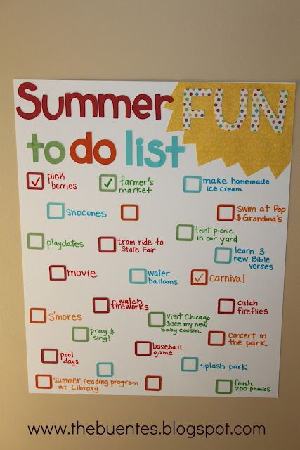 Cute idea for a summer to-do list...create with the kiddos/check-off as you complete!
