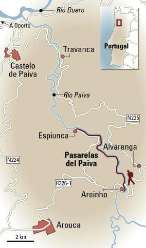 Nueve kilómetros de puentes, caminos y escaleras junto al río Paiva, al noroeste de Portugal