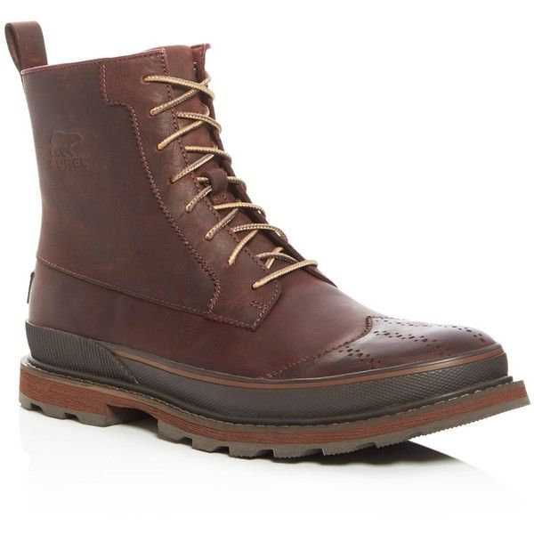Sorel Madson Wingtip Boots ($220) ❤ liked on Polyvore featuring men's fashion, men's shoes, men's boots, brown, mens brown wingtip shoes, mens brown shoes, mens brown boots, mens brown wingtip boots and sorel mens boots