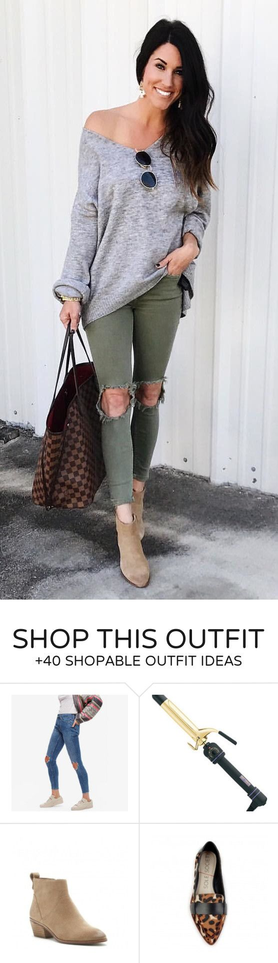 #fall #outfits  gray v-neck long-sleeve sweater and jeans