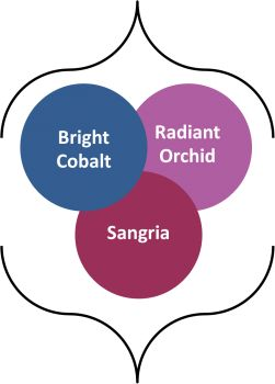 Combining Fall 2014 colors: radiant orchid, bright cobalt, sangria