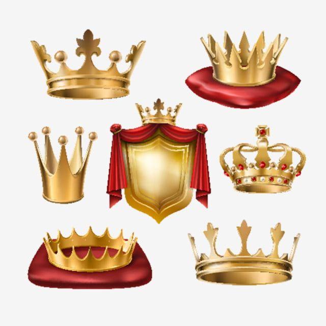 Gambar Set Vektor Mahkota Emas Kerajaan Pelbagai Jenis Dan Emas Emas Mahkota Png Dan Vektor Untuk Muat Turun Percuma Golden Crown Shield Vector Vector