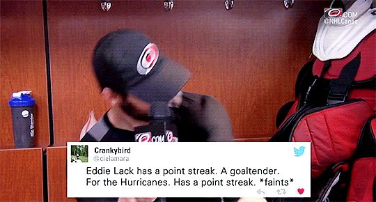 This is true. -- Eddie Lack. Carolina Hurricanes