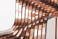1:30 scale model and computer model of Heatherwick studios Longchamp Store Stairs.    Scale- 1:30 Materials- Copper, acrylic, wood  Processes: CAD - Rhino Modelling CNC  Metal kneeling and polishing