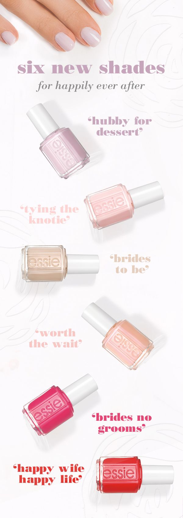 Be ready for wedding season whether you're a bride or a bridesmaid with these fabulous shades from the essie 2015 bridal collection. From traditional pinks and nudes to bolder red polish, there are six new stunning shades for your wedding day manicure.