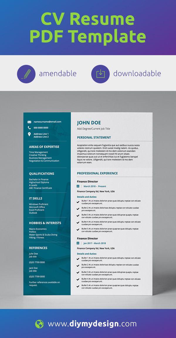 Diy Resume Template Corporate Editable 2 Page Cv Cover Letter Resume Template Resume Modern Resume Template