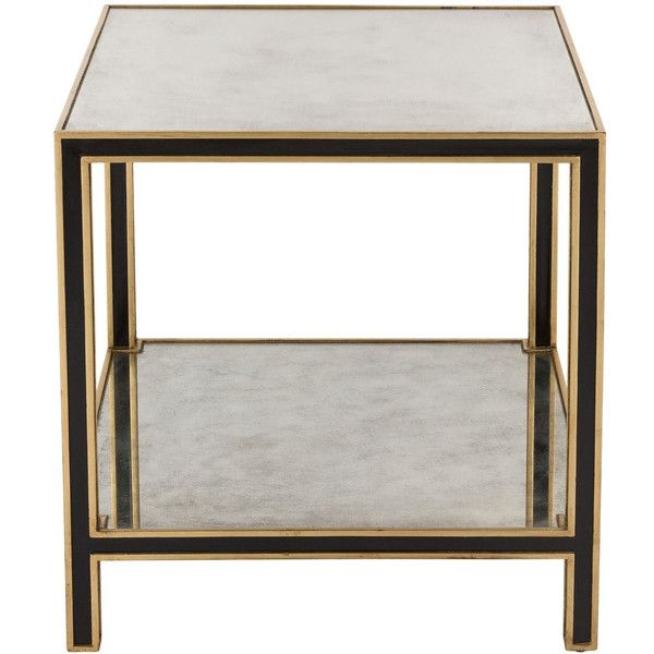 Cambria Mirrored End Table design by Safavieh (70.115 RUB) ❤ liked on Polyvore featuring home, furniture, tables, accent tables, end tables, safavieh end table, mirrored lamp table, black accent table, mirrored end table and safavieh side table