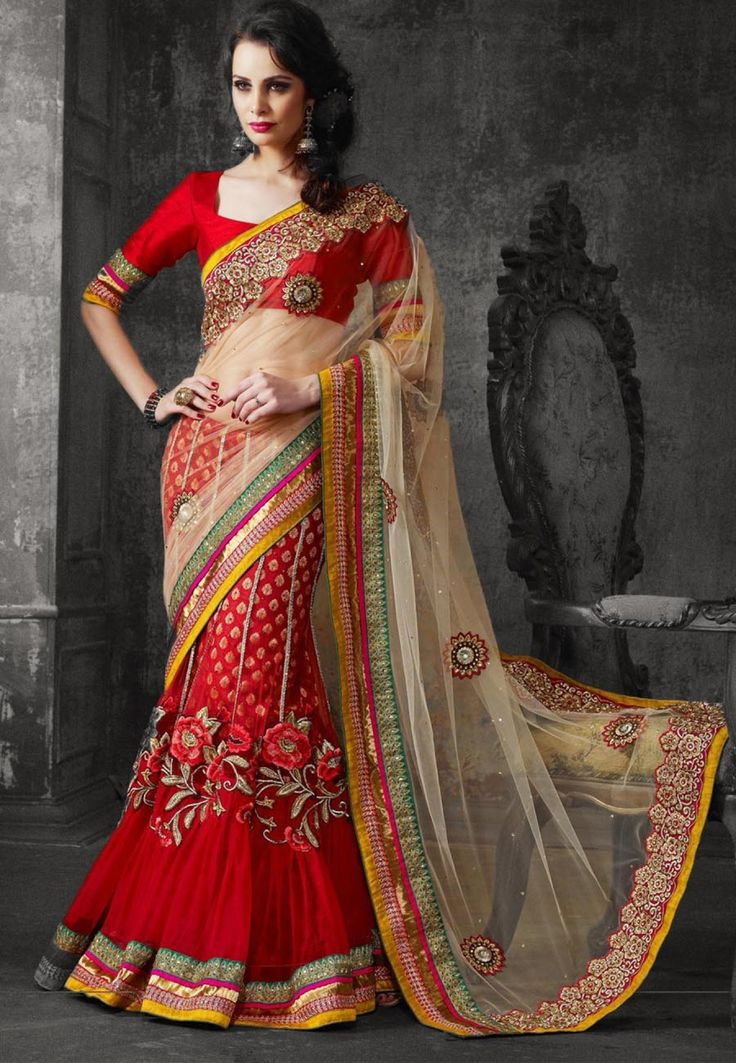 Red & Beige Embroidered Net Party Wear Lehenga Saree
