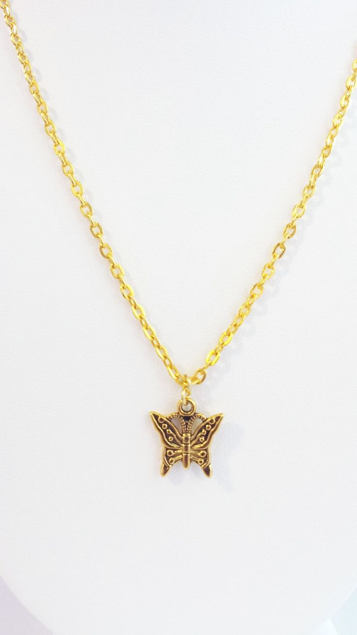 Tiny Gold Butterfly Necklace - Charm, Dainty, Graduation, Girly by DameCreation on Etsy