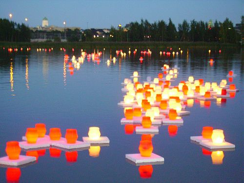 Beautiful Picture with lots of floating candles.