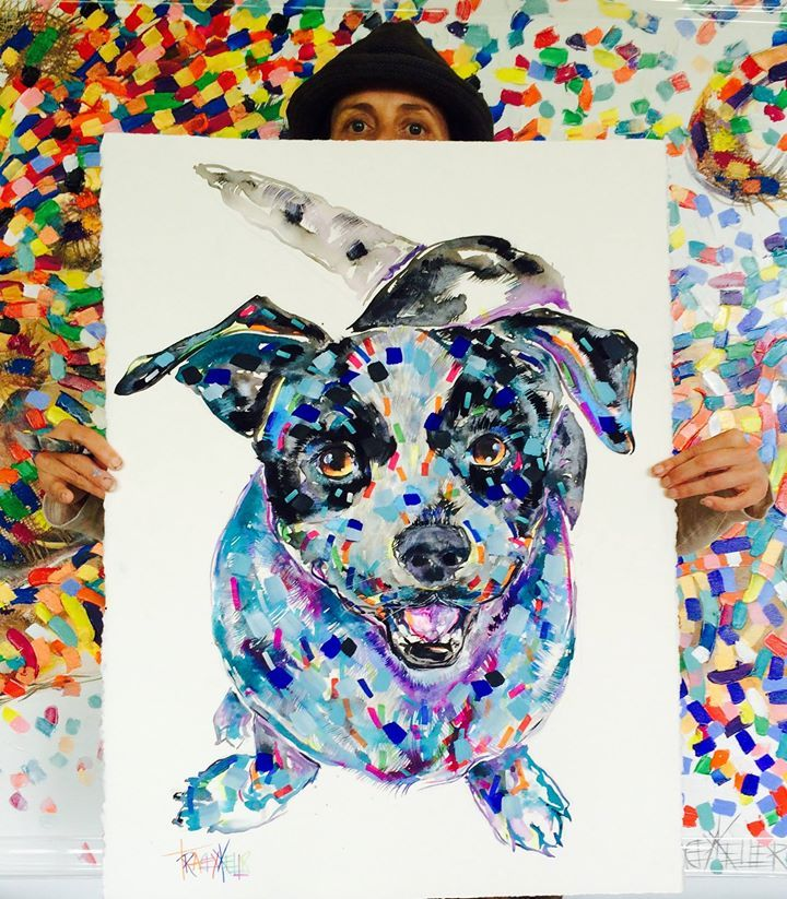 """TRACEY KELLER """"DOG A DAY""""  Sally Acrylic and Ink on 640gsm paper 76cm x56cm  Enquiries email: Jean@traceykeller.com.au  #painting #paintings #paintingoftheday #paintingart #paintingsforsale #paintingtime #paintingaday #art #artist #artoftheday #dog #dogsofinstagram #dogs #dogstagram"""