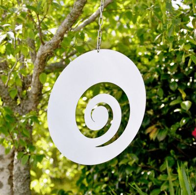 Hanging stainless steel koru by LisaSarah.  suitable for outdoors.  www.lisasarah.com