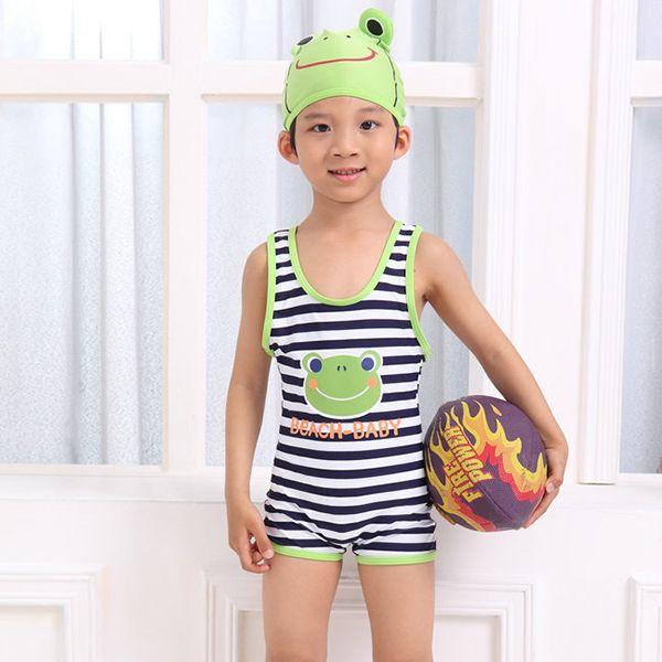 Ребенка мальчики лягушка купальник + шапочка для плавания автомобиль 3 шт. купальный костюм 2-7Y