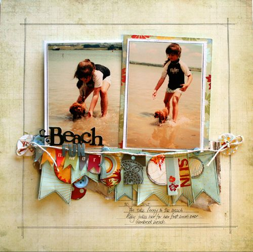love the dimension: Scrapbook Ideas, Beaches, Scrapbook Layouts, Nic Howard, Beach Layout, Banner Idea, Fancy Pants, Pants Design, Scrapbooking Layout