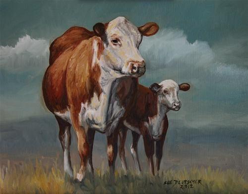 """""""Hereford Cow and Calf 120725"""" - Original Fine Art for Sale - © Sue Deutscher"""