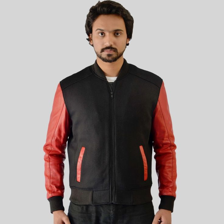 Men's wool jacket with leather sleeves