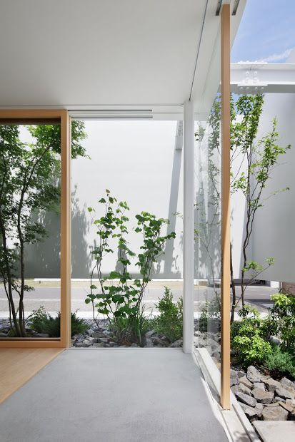 For home in the city open sliding glass walls to gardens with walls for privacy