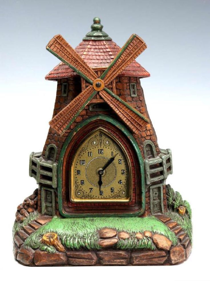 Circa 1930 DE LUXE CLOCK CO. SYROCO THE VILLAGE MILL