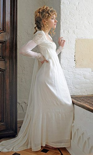 Regency-inspired wedding dress modeled by actress Imogen Poots.