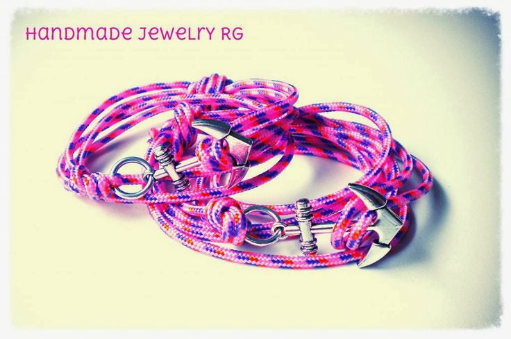 Handmade Jewelry Rg: Bracelet Pink Sailor Anchor