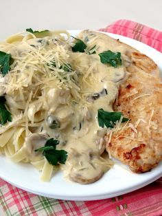 Chicken Scallopini With Mushrooms and Parmesan Cheese | YummyAddiction.com I would actually present it on the plate not so haphazardly to make it a more intimate meal for two :)