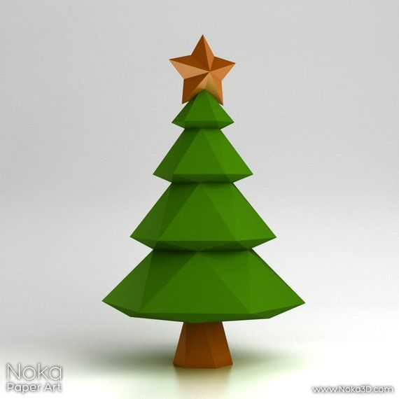 Christmas Tree 3d Papercraft Model Downloadable Diy Etsy Paper Crafts Diy Template Christmas Fayre Ideas