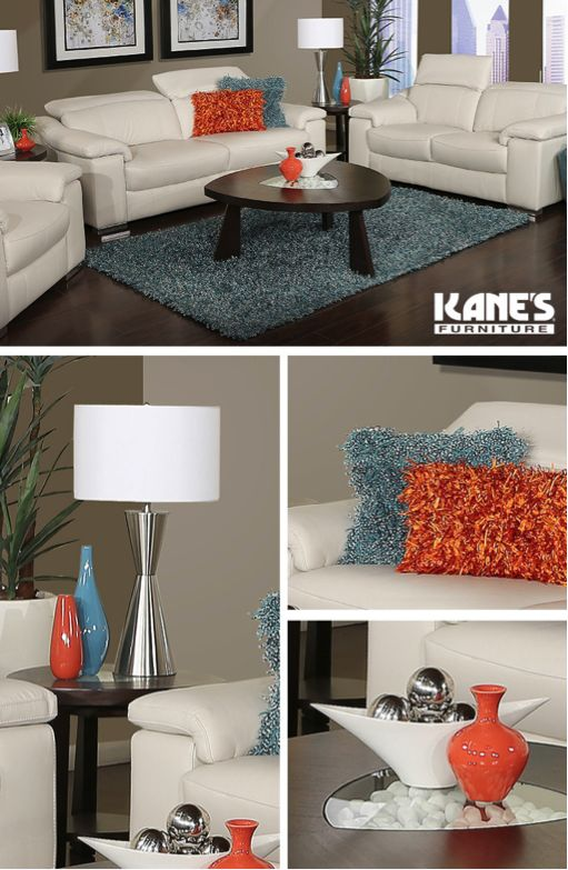 Add a dash of luxury to your living room with Kane's Intrigue 5 pc Living Room Group. This contemporary set includes a sofa, loveseat, and end tables, all stocked in stationary, reclining, and power reclining. Plus, all pieces are crafted with chrome finish metal legs to accent the crisp, white fabric. You can even throw in some bright, decorative pillows for some extra flair!