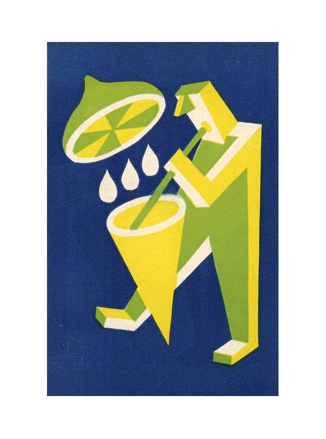 """Fortunato Depero"", advertising postcard for Lemonade, 1920s. Messina, Italy. Wolfsonian."