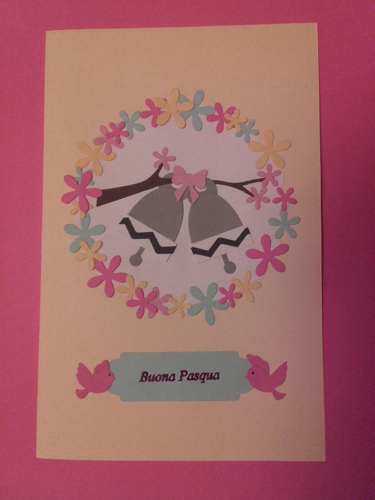 """Biglietto Pasquale. Per i fiori e gli uccellini ho utilizzato le fustelle """"La Coppia Creativa"""" http://www.lacoppiacreativa.com/"""