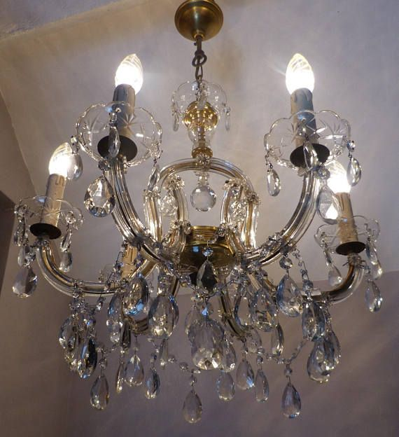 Gorgeous Vintage Bell Shape 6 Arm Marie Therese Chandelier With