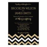 Elegant Chevron Wedding Invitations Gold And Black