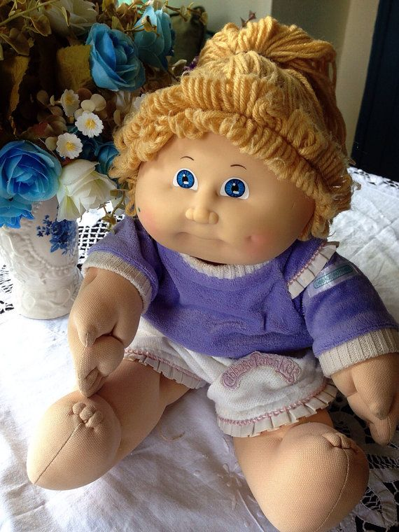 Vintage Cabbage Patch Kids Blond Yarn Hair Doll Rare 1980s
