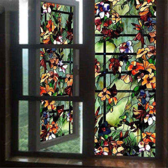 Window Film Glass Stickers Static Cling Stained Office Etsy In 2020 Stained Glass Window Film Window Film Adhesive Window Film