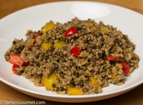Brown Rice Pilaf with Lentils, Beef, and Bell Peppers