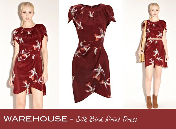 Friday Frock O'clock red bird-print draped dress