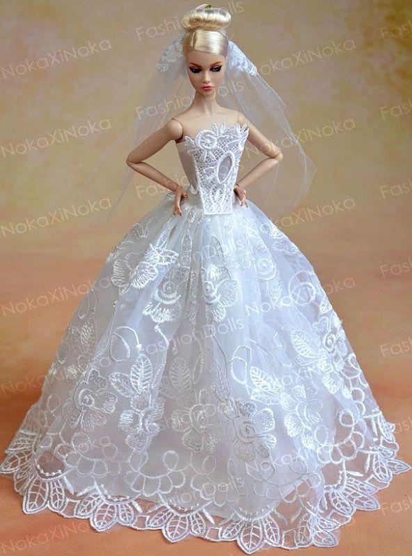 Vestido De Noiva Para Boneca Barbie * Luxo E Glamour - R$ 24,90 no MercadoLivre