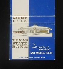 1970s Texas State Bank San Angelo TX Tom Green Co Matchbook