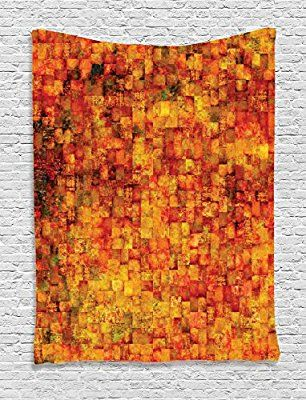Burnt Orange Decor Tapestry by Ambesonne, Vintage Mosaic Background With Quadratic Little Geometric Squares Faded Decorative, Bedroom Living Room Dorm Decor, 40Wx60L Inches, Orange Red
