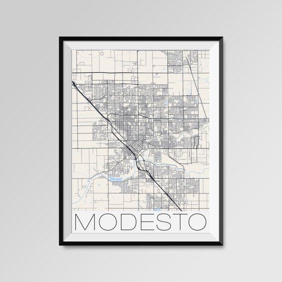 Modesto map, California, Modesto print, Modesto poster, Modesto map art, Modesto city maps, Modesto Minimal Wall Art, Modesto Office Home Décor, black and white custom maps, personalized maps