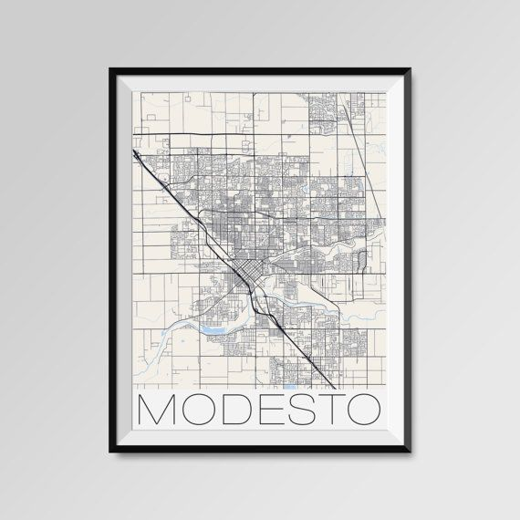 Modesto map, California, Modesto print, Modesto poster, Modesto map art, Modesto city maps, Modesto Minimal Wall Art, Modesto Office Home Décor, black and white custom maps, personalized maps