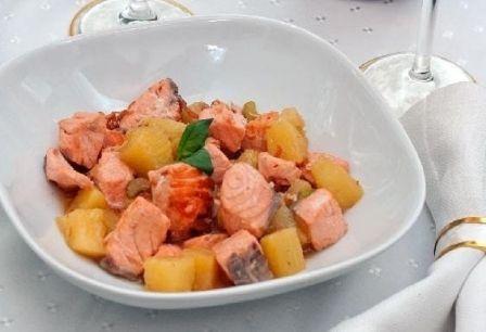 Быстрое, вкусное, легкое блюдо... Жареный лосось с ананасами
