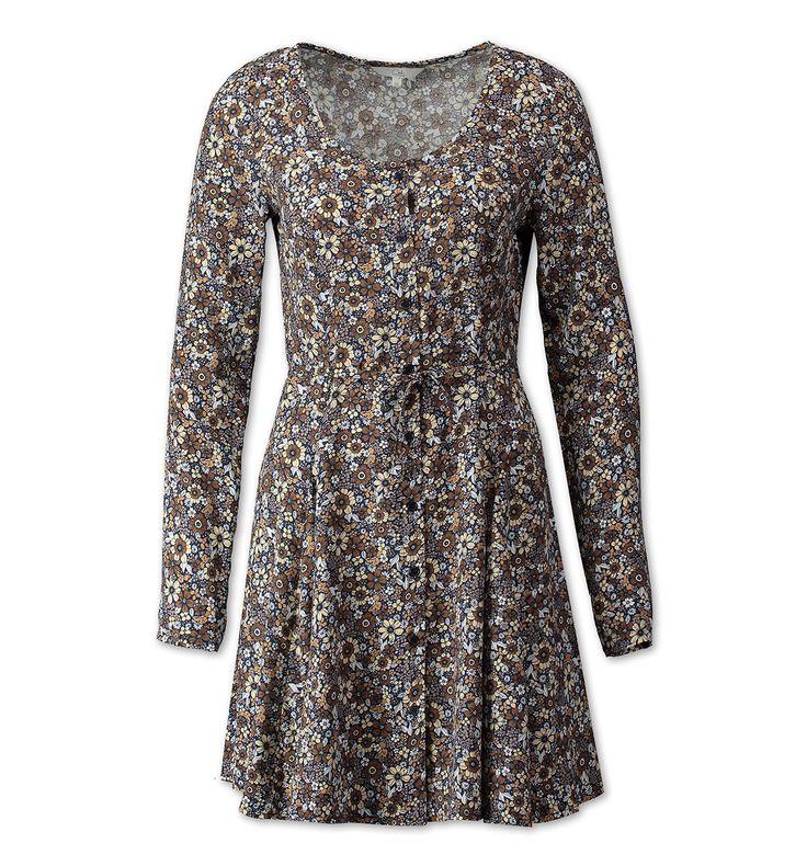 Sklep internetowy C&A | Sukienka w kwiatki z listwą guzikową, kolor:  jasnobrązowy | Dobra jakość w niskiej cenie