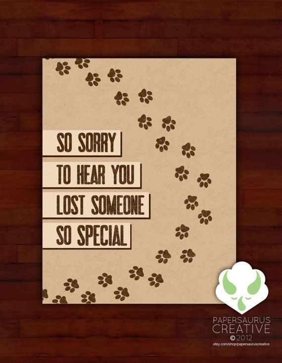 Greeting card - Paw prints on your heart - sympathy, loss of pet