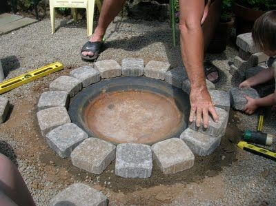 fire pit - cheap & easy using the bowl from an older fire pit set